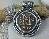 Ancient Byzantine Coin Pendant, Multi strand  silver and coin Pendant  ,large  authentic antique coin necklace