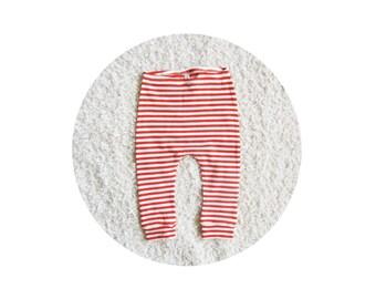 baby stripe cotton leggings, kids sweatpants, cotton knit trousers, baby toddler longies (orange knit stripe)