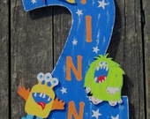 MONSTERS Yard Sign/Door Sign  - Original Hand Painted Wood Keepsake - Birthday Sign