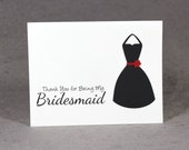 Bridesmaid Thank You Card, Select Color and Style, Flat Rate Shipping, LS1