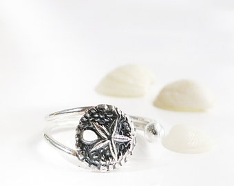 Sand Dollar ring, Sterling Silver, Adjustable, Beach jewelry