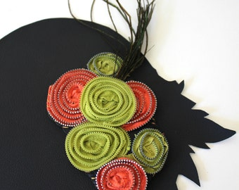 Chartreuse and Salmon Zipper Rosette and Feather Hair Piece Clip