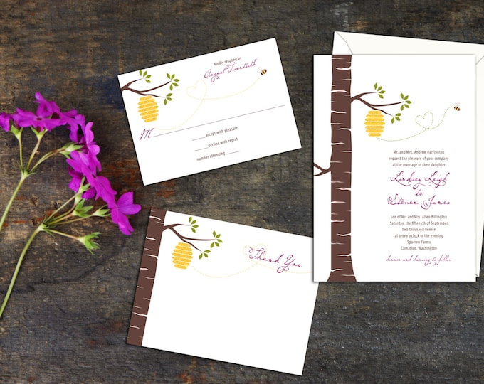 Outdoor Wedding Invitation, Garden Wedding, Casual Wedding Invite, Wedding response cards, Wedding invitation set, Custom Tree wedding