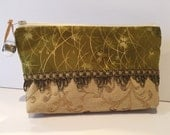 Green and Gold Cosmetic Bag