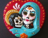 Day of the Dead VIRGIN MARY & Baby JESUS Sacred Heart Wall Hanging Sculpture