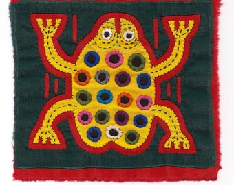 Super-Special Spotted Yellow Frog Mola Mini - Kuna Indian Reverse Applique