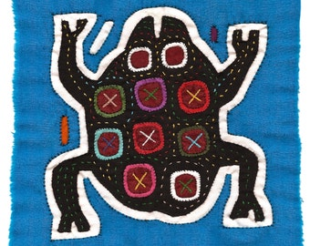 Rare Black Frog Mola/Molita - Hand Stitched Kuna Indian Reverse Applique