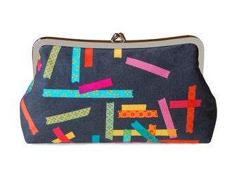 Colorful clutch purse, Geometric clutch, Gray clutch purse, Gray fabric clutch, Handmade clutch, Metal frame purse, Everyday bag, Gray bag