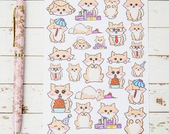 Miss Lottie Pomeranian GLOSS Sticker Sheet | For Kikki K, Erin Condren, FiloFax or other Journals and Planners