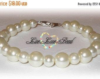 ON SALE 15% OFF Back 2 Basics Ivory Glass Pearl Bracelet
