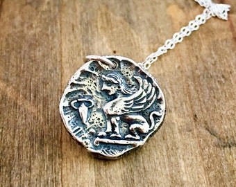 Sphinx necklace - Greek mythology jewelry - sterling silver charm necklace - ancient coin jewelry, Christmas Gift for her, Gift for him