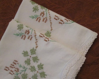 Vintage Pillowcases -  Hand Embroidered Pair - Green and Brown Floral Cross Stitch