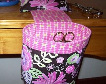 Thread Catcher // Scrap Caddy //, Scrap Bag // Pincushion // With rubberized gripper strip // Boho Blossom Orchid