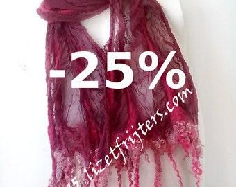 JANUARY SALE Maroon Purple Curly Nuno Felted Scarf  Eco Fashion Casual Wear Everyday Wear