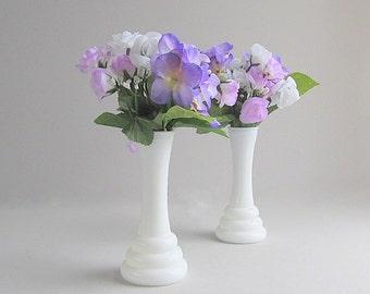 Vintage Milk Glass Bud Vases, Flower Vases, Wedding Vases, Shabby Cottage Chic Set of 2
