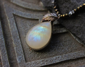 Rainbow Moonstone Pendant, Metalwork, pyrite  necklace, black choker  necklace, strung gemstone necklace