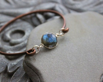 Labradorite  Stacking  Bangle bracelet, Copper stacking dainty bangle, metalwork, skinny bangle