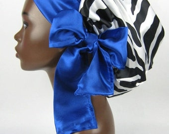 Satin Sleep Bonnet Cap in Zebra Black & White with Sapphire Blue