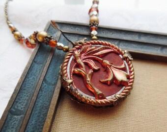 Trumpet Vine, Antique Button Necklace, One of a Kind Design, Beautiful and Unique