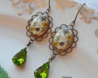 Fall Meadow, Vintage Cameo and Crystal Earrings
