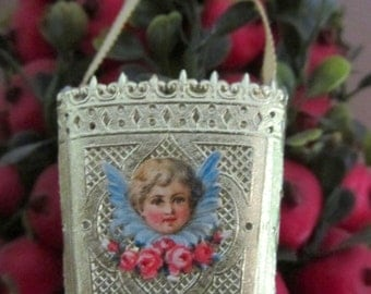 Vintage Gold Paper Dresden Basket Ornament with Antique German Angel Head Paper Scrap Handmade Piece