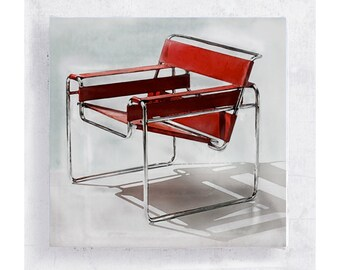 Chair Art - Realism - Wassily Chair by Marcel Breuer in 1925 - Canvas Print on 5x5 Art Block - Classic Retro Chair Print - Loft Decor
