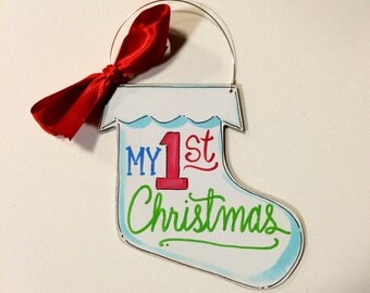 Stocking Ornament - My first Christmas ornament - baby ornament - child ornament - personalized ornament - painted ornament - wood