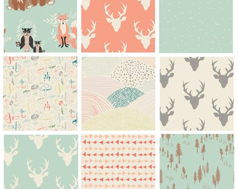 9 FABRIC QUILT BUNDLE - Hello, Bear (Mint) - Art Gallery - Bonnie Christine - Woodland Quilting Fabric - Deer Head Antlers Woods Forest