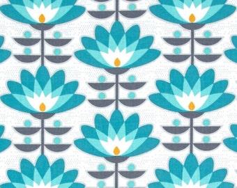 Deco Bloom Mint Cotton Quilting Fabric - Atrium - FreeSpirit - Joel Dewberry - PWJD107.MINTX - Art Deco Blue Flowers