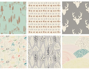 BUNDLE - Hello Bear - Art Gallery Fabrics - Bonnie Christine - Woodland Quilting Fabric - Deer Head Antlers Hunting Woods Forest