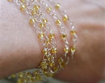 Multi glass beaded chain bracelet/amber glass bracelet/beaded bracelet. Tiedupmemories