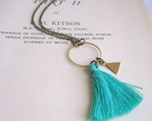 Turquoise Blue Tassel necklace with Triangle charm - cotton and brass on fine chain - gift for her