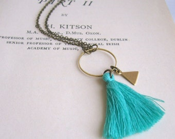 Turquoise Blue Tassel necklace with Triangle charm - cotton and brass on fine chain - boho jewellery