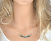 Turquoise and Silver Necklace, Silver Turquoise Necklace, Simple Turquoise Silver Necklace