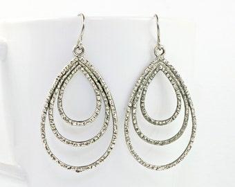 Antique Silver Three Teardrop Dangle Earrings, Hammered Antique Silver Earrings, Silver Drop Earrings, Hammered Silver Earrings