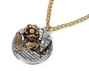 Steampunk Jewelry Necklace SWISS Pinstripe Womens Pocket Watch Pendant, Mixed Metals Brass ROSE Holiday Gift For Her - Jewelry by edmdesigns