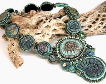 Ancient Reef Necklace, Beadweaving, Bead Embroidery