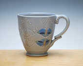 Moth mug in Periwinkle w. colorized detail, Victorian modern cup