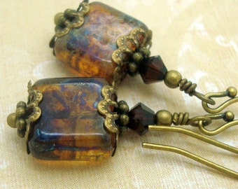 Victorian Earrings in Marbled Brown Weathered Tiles
