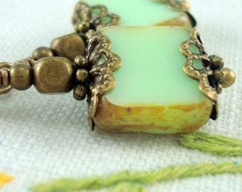 Green Dangle Earrings in the Neo Victorian Jewelry Style