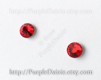 Swarovski Elements Crystal Post Earrings Kawaii Stud Earrings Surgical Steel Posts Bright Ruby Red Cherry Color Crystals Sensitive Ears 4mm