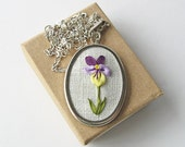 Violet necklace, February birthday gift, botanical necklace, ribbon embroidered pansy, spring flower necklace, ribbon embroidery jewelry