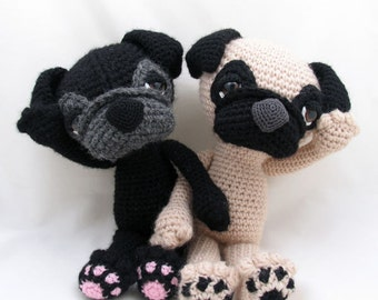 PDF Amigurumi / Crochet Pattern Sleepy Eye Dog - PUG CP-14-3230