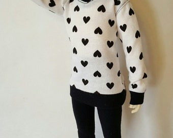 Black HEARTS on White print SWEATER for bjd msd kid delf SDcute