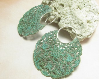 Large Verdigris Earrings, Green Patina Earrings, Mixed Metal Hoop Earrings, Sterling Silver And Brass Earrings, Extra Large Exotic Earrings