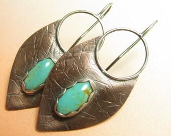 Large Rustic Turquoise Earrings, Dangle, Sterling Silver And Copper Tribal Earrings, Mixed Metal Lotus Petal Shield Earrings, Copper Jewelry