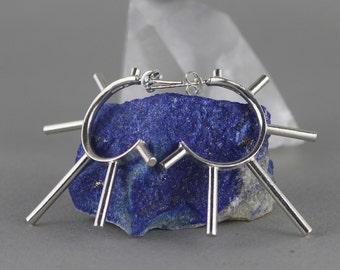 Sterling Silver Hoop Earrings. Spike Earrings. Tribal Hoops. Statement Earrings. Symbolic Jewelry. Punk Earrings. Tribal Earrings.