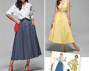 Simplicity 1166 Misses' Vintage Blouse, Skirt and Bra Top size 6-14