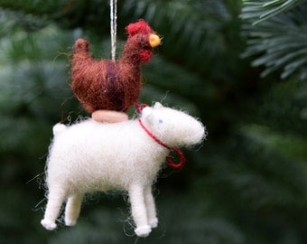 Hen on a Lamb - Circus Farm Stack - Needle Felted Christmas Ornament