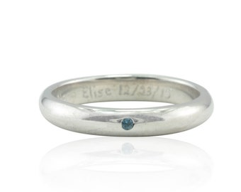 Birthstone Ring, Mother's Ring, Natural Blue Topaz December Birthstone Stacking Ring, Bezel Set Blue Topaz Right Hand Ring - LS2126